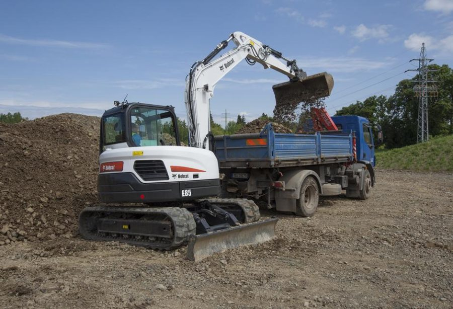 bobcat excavator e85 grading bucket construction