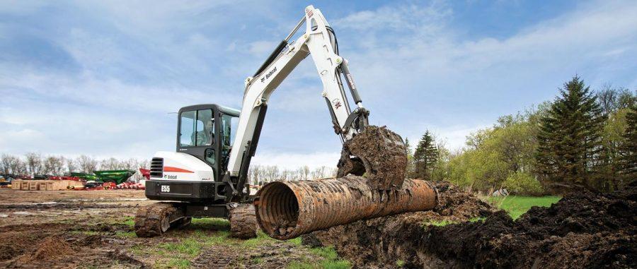 bobcat excavator e55 grading bucket construction