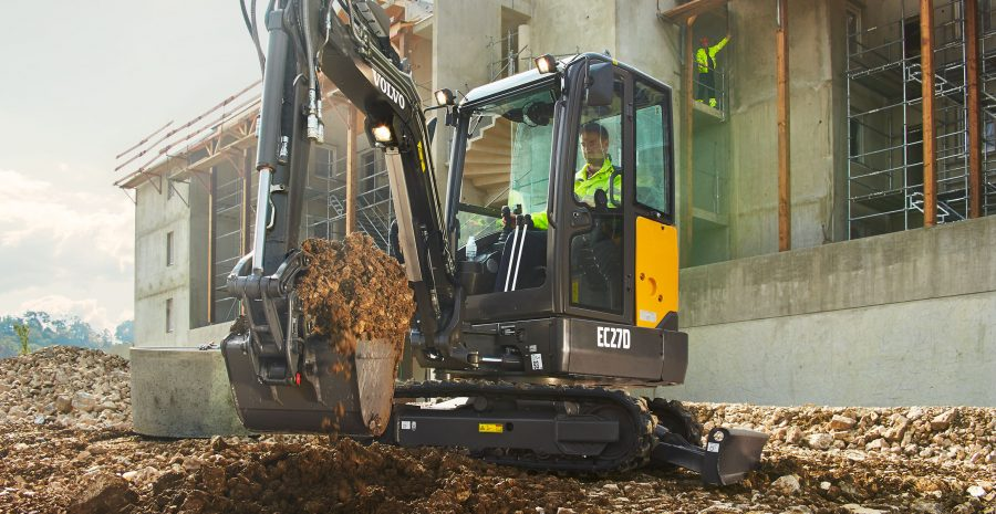 volvo excavator ecr27d grading bucket construction